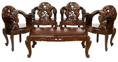 Set Of 4 Carved Chinese Armchairs With Matching Coffee Table