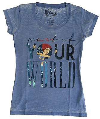 Authentic Disney Little Mermaid Ariel World Vintage Blue Women Junior T-Shirt