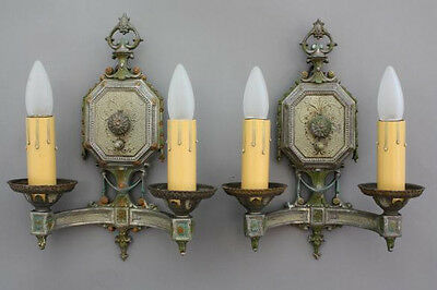 Pair 1920s Double Sconce Light Fits Spanish Revival French Colonial (5934)