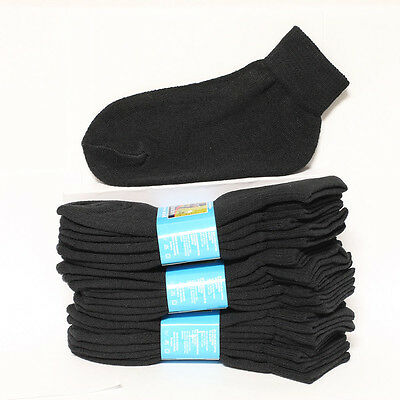 4 12 Pairs Kid's Cotton Socks Ankle High Solid Black Heavy Junior Size 6-8 Boy's