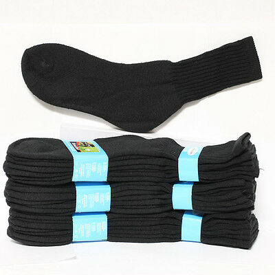 4 12 Kid's Cotton Socks Crew High Solid Black Heavy Junior Size 6-8 Boy's Girl's