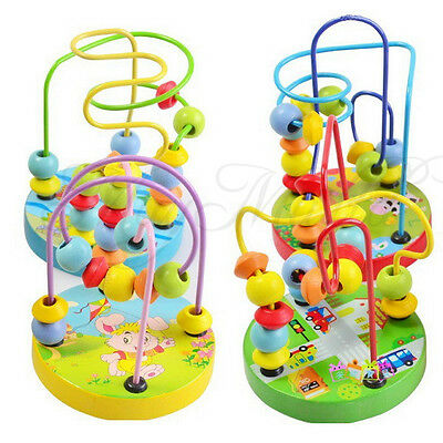 New Children Kids Baby Colorful Wooden Mini Around Beads Educational Game Toy JC