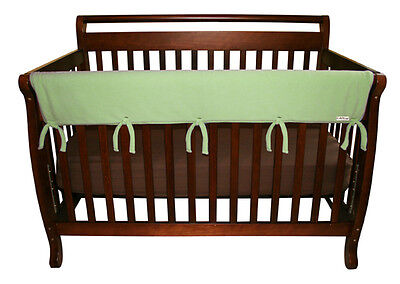 """CribWrap Convertible Crib Rail Cover-51"""" Sage Fleece By Trend Lab 109079 New"""