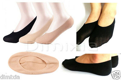 4X Women Invisible Low Cut Boat Footlet Grip Stretch Sock Stocking No Show Socks