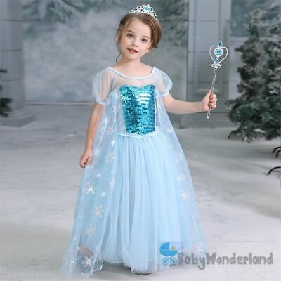 NEW Girls Frozen Princess Anna,Elsa Tutu Party Birthday Dress Costume size 1-8Y