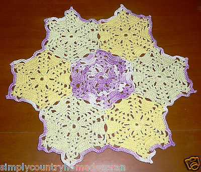 DOILY~Handcrocheted~Yellow~Light Green~Lavender Variegated~10 Inch Diameter