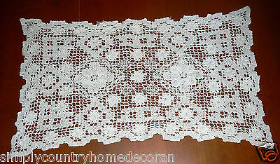 DOILY~Handcrocheted~Cream~Rectangular~Lacey Look~12&1/2 X 7 Inches