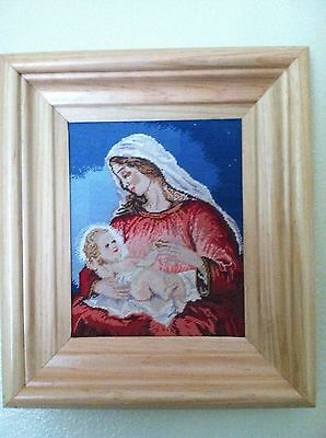"""""""Virgin Mary and baby Jesus"""" 100% hand made cross stitch gobelin tapestry"""