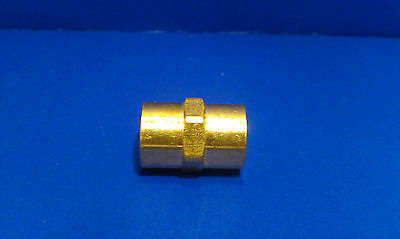 Solid Brass Hex Adapter Pipe Coupling Fitting 1/4 Inch Female NPT Air Fuel Water