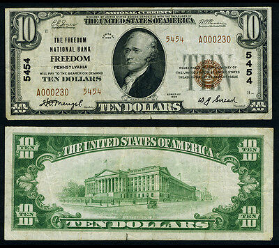 Freedom PA $10 1929 T-2 National Bank Note Ch #5454 Freedom NB Very Fine