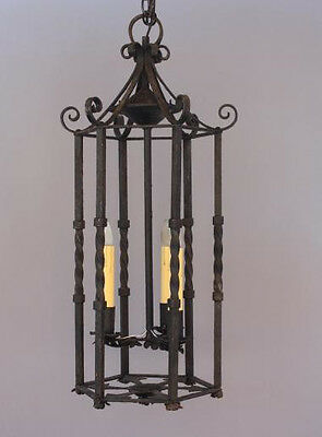 1920s Large Entry Pendant Light Wrought Iron Antique Spanish Revival (5408)