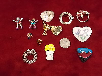#20, Lot Of 13 Old Vtg Costume Brooches, Incl Angels, Flowers, People, Mothers++