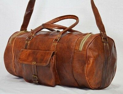 LEATHER DUFFLE BAG VINTAGE MENS TRAVEL GYM LUGGAGE CANVAS LARGE CARRY ON WEEKEND