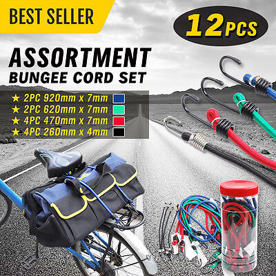12pcs Elastic Cord Assortment Bungee Hooks Motorbike Bike Luggage Tie Down Strap