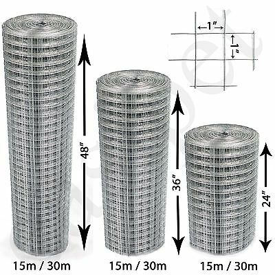 "Welded Wire Mesh 1""x1"" Galvanised Fence Aviary Rabbit Hutch Chicken Run Coop Pet"
