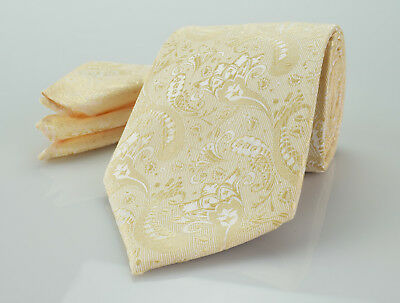 Mens Luxury Tie in Champagne Cream Paisley Silk Floral Wedding Gift Necktie