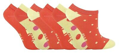 Girls Elle Invisble Cotton Trainer Ballet Pump Socks Orange 6-8.5, 2-3 years