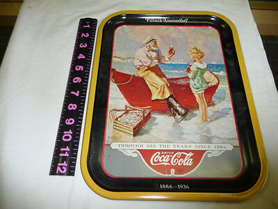COCA-COLA 1987 50th ANV. SEA CAPTAIN THRU ALL THE YEARS SINCE 1886   METAL TRAY