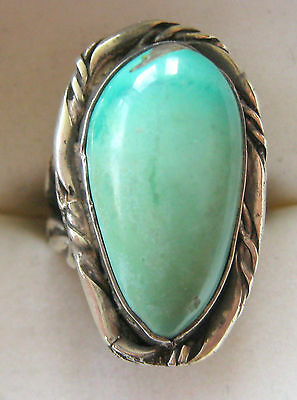 ESTATE BOLD STERLING SILVER TURQUOISE RING SIZE 5 HAND MADE 13.5 GR ARTISAN