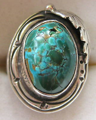 ESTATE BOLD STERLING SILVER TURQUOISE RING SIZE 6.5 HAND MADE 10.2 GR ARTISAN
