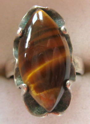 BOLD STERLING SILVER TIGER EYE AGATE RING SIZE 6.5 HAND MADE 4.7 GR ARTISAN