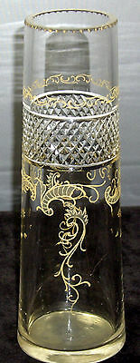 Beautiful Early  Bohemian cut glass vase with hand painted golden designs