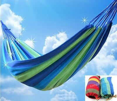 Portable Cotton Rope Outdoor Swing Fabric Camping Hanging Hammock Canvas Bed