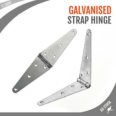 """2 Piece 6"""" Zinc Plated Strap Hinge Long Triangle Smooth Steel Door Gate Hinges"""