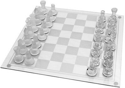 Large Traditional Chess Glass Board Set Beautiful Game Gift 32 Pieces Fun Party