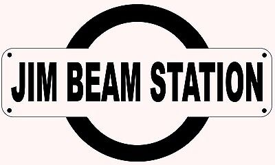 Jim Beam Train Station Replica Sign - Fathers Day Gift Birthday