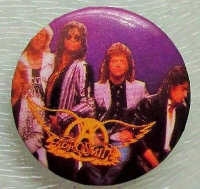 AEROSMITH VINTAGE METAL BUTTON BADGE FROM THE 1980's