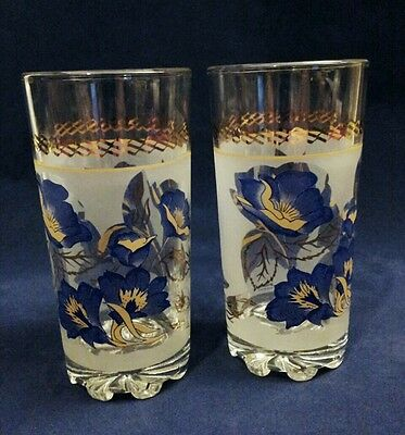 Set of 2 Cerve Italy Tumblers Gold Blue Frost Clear Glass Barware Floral