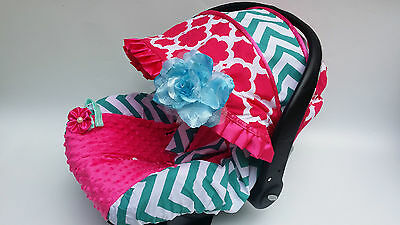 baby car seat cover canopy cover slip cover fitMost infant car seat pink green