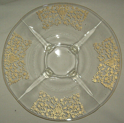 "Platter by Paden City Glass 14 1/2""  Gold encrusted design four sections"