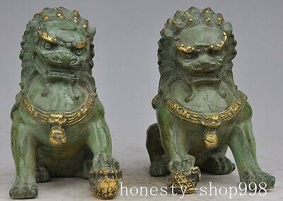"8"" Chinese Fengshui Bronze gilt Evil spirits Guardian Door Fu Foo Dog Lion Pair"