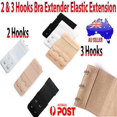 2 3 Hooks Bra Extender Elastic Extension Stretching Straps Black / Beige / White