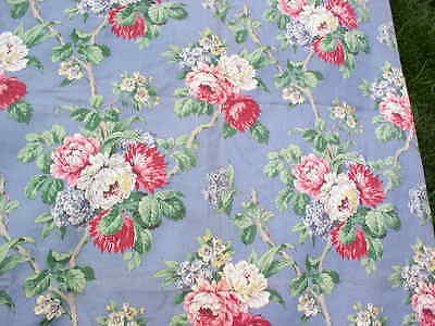 Over 6 YARDS Vintage BARKCLOTH Fabric Blue w Pink & White Romantic Florals