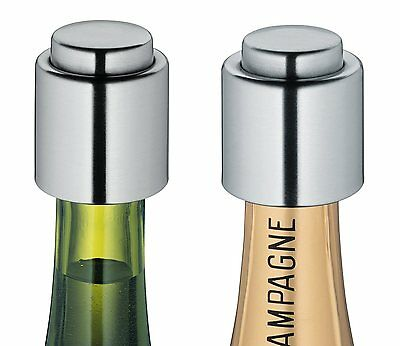 Cilio Stainless Steel Wine & Champagne Bottle Cap / Stopper / Sealer - 2pc Set