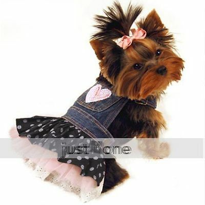 Lovely New PET DOG APPAREL Clothes Costume Dress DENIM SKIRT Size Selectable