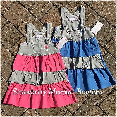 NEW Girls French Designer Complices Pink Blue Pinafore Dress 2 3 4 5 6 8 RRP £23