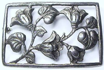 Classic Large Antique Arts & Crafts Hand Wrought Sterling Bell Flower Brooch Pin