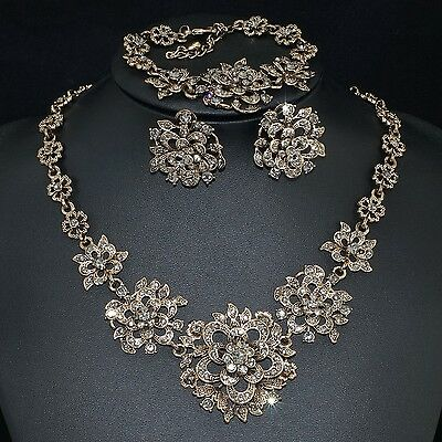 V36 Vintage Gray S. Crystal 18K GP Flower Earrings Bracelet Necklace Set Ring 7#