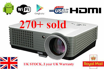 3D WIFI Android Home Cinema 4000 lumens USB HDMI HD 1080P TV LED Home Projector