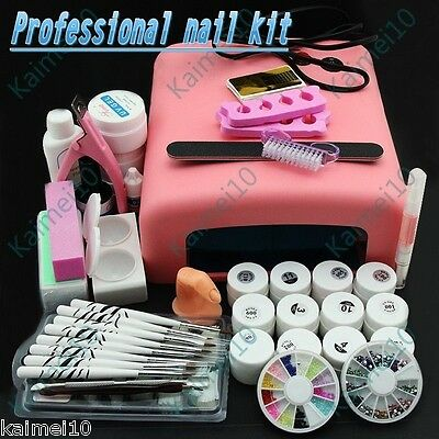 Professional Kit 36W White Cure Lamp Dryer + 12 Color UV Gel Full Nail Art Tool