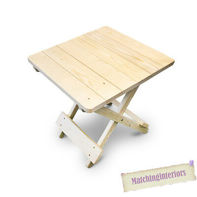 Plain Wooden Side Folding Picnic Camping Table Small Garden Patio Furniture