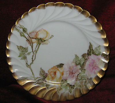 "1 - 8 1/2"" Bernardaud & Co Limoges plate with pink and yellow roses (2014-058)"