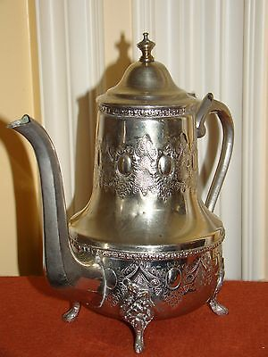 """VINTAGE SILVERPLATE ARABIC ORNATE FOOTED RELIEF TEA/COFFEE POT 9""""TALL"""