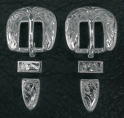 """1/"""" Hand Engraved Silver Plated Buckle Sets Spur Straps Headstall #12"""