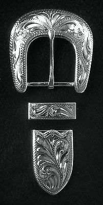 """1"""" Hand Engraved Silver Plated Buckle Set - Spur Straps Headstall            #5"""