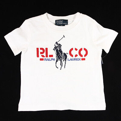 New Ralph Lauren Polo Boys Big Pony screen-printed Graphic Tee Toddler 9M 18M